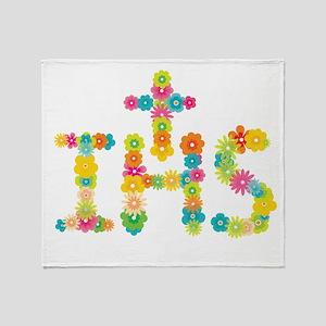 Floral Christogram Throw Blanket