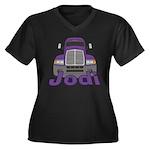 Trucker Jodi Women's Plus Size V-Neck Dark T-Shirt