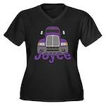 Trucker Joyce Women's Plus Size V-Neck Dark T-Shir