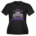 Trucker Julia Women's Plus Size V-Neck Dark T-Shir