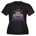 Trucker June Women's Plus Size V-Neck Dark T-Shirt