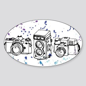 Cool Paint Blue Retro Cameras Sticker (Oval)