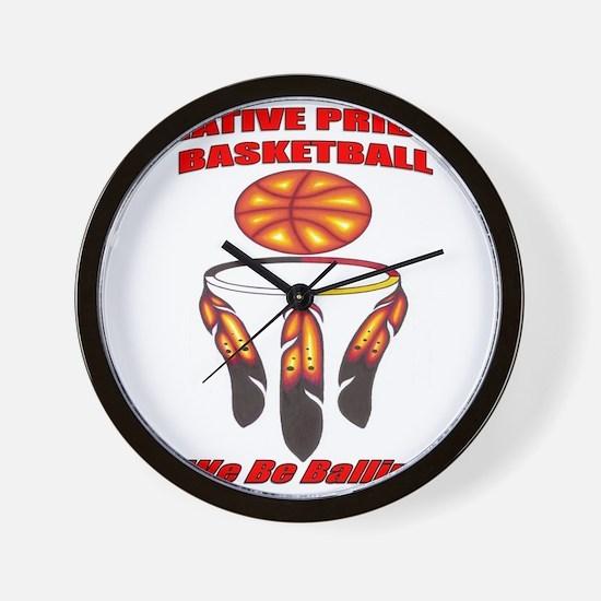 Native Pride Basketball Wall Clock