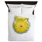 2 YELLOW BARREL CACTUS FLOWERS Queen Duvet