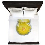 2 YELLOW BARREL CACTUS FLOWERS King Duvet