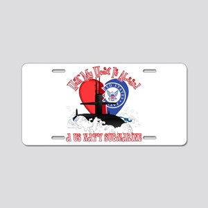 Half My Heart Aluminum License Plate