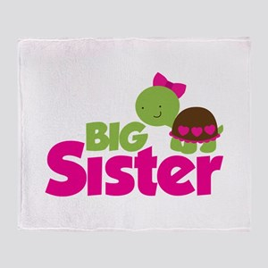 Girl Turtle Big Sister Throw Blanket