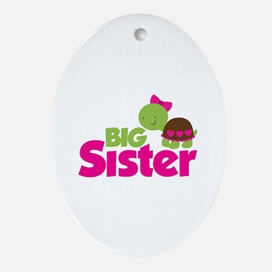Girl Turtle Big Sister Ornament (Oval)