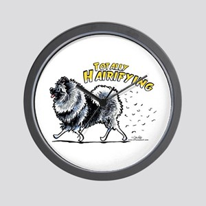 Keeshond Hairifying Wall Clock