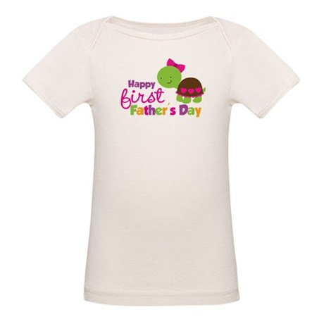 Girl turtle happy 1st fathers day Organic Baby T-S