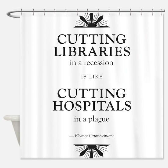 Library Logo - black on white Shower Curtain