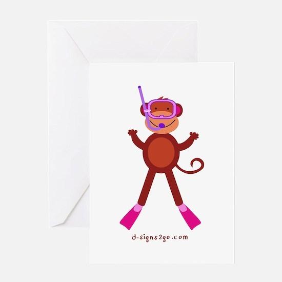 Monkey Snorkel - Pink Greeting Card
