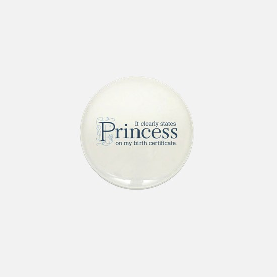 Princess Certificate Mini Button
