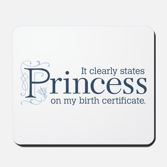Princess Certificate Mousepad