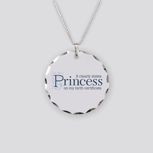 Princess Certificate Necklace Circle Charm