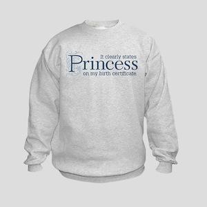 Princess Certificate Kids Sweatshirt