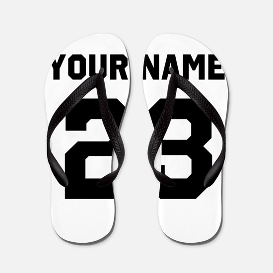 Customize sports jersey number Flip Flops