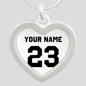 Customize sports jersey numb Silver Heart Necklace