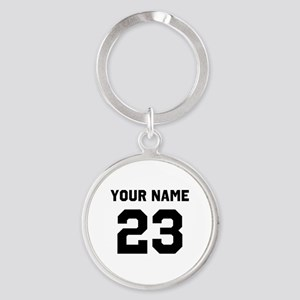 Customize sports jersey number Round Keychain