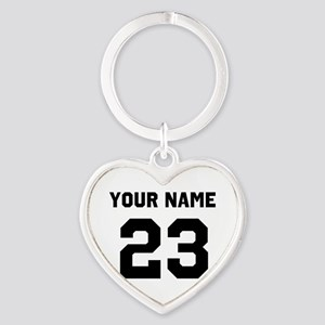 Customize sports jersey number Heart Keychain