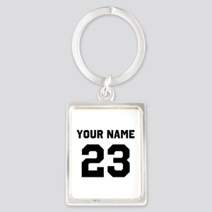 Customize sports jersey number Portrait Keychain