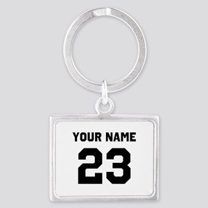 Customize sports jersey number Landscape Keychain