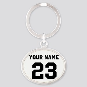 Customize sports jersey number Oval Keychain