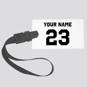 Customize sports jersey number Large Luggage Tag