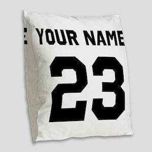 Customize sports jersey number Burlap Throw Pillow