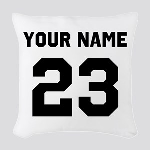 Customize sports jersey number Woven Throw Pillow