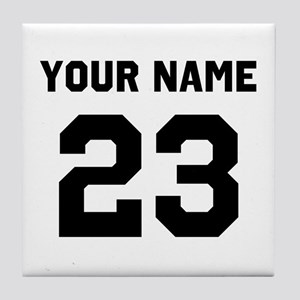 Customize sports jersey number Tile Coaster
