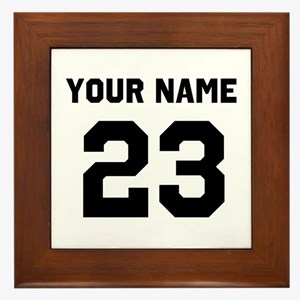 Customize sports jersey number Framed Tile