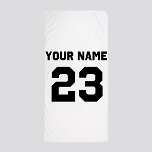 Customize sports jersey number Beach Towel