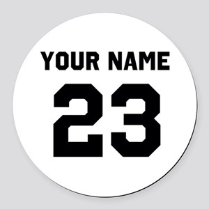 Customize sports jersey number Round Car Magnet