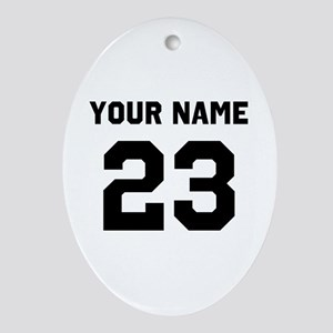 Customize sports jersey number Oval Ornament