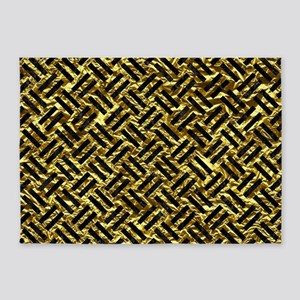 WOVEN2 BLACK MARBLE & GOLD FOIL (R) 5'x7'Area Rug