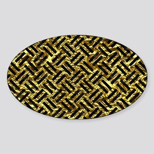 WOVEN2 BLACK MARBLE & GOLD FOIL (R) Sticker (Oval)