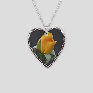 Yellow rosebud 3349 - Necklace Heart Charm