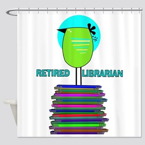 RETIRED LIBRARIAN BIRD 6 Shower Curtain