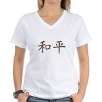 Copper Chinese Peace Women's V-Neck T-Shirt