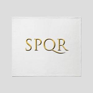 Gold Latin SPQR Throw Blanket