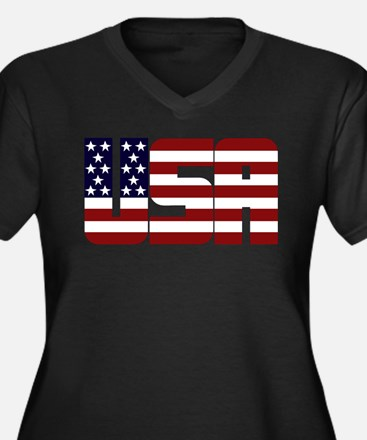 Cute Usa Women's Plus Size V-Neck Dark T-Shirt