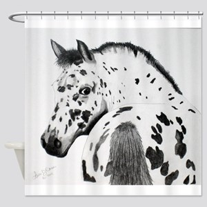 Leopard Appaloosa Colt pencil drawing Shower Curta