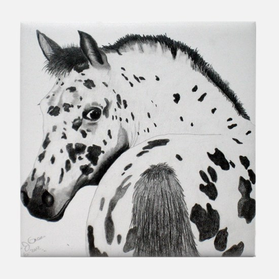 Leopard Appaloosa Colt pencil drawing Tile Coaster