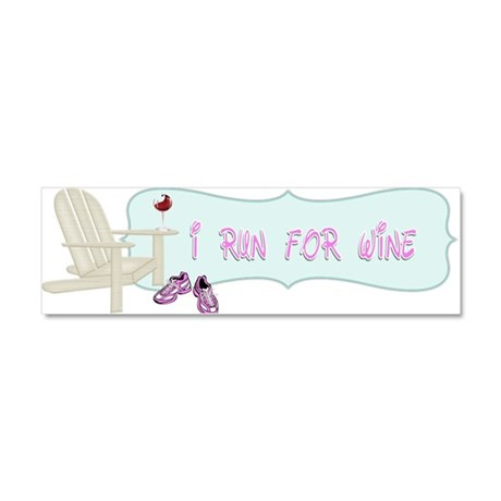 I Run For Wine Car Magnet 10 x 3