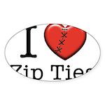 I love Zip Ties Sticker (Oval 10 pk)