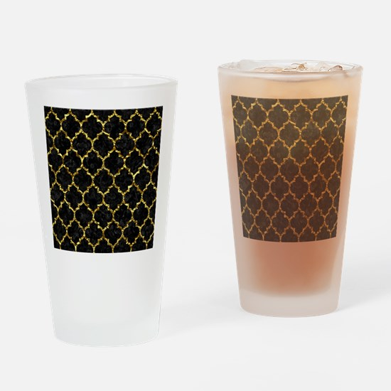TILE1 BLACK MARBLE & GOLD FOIL Drinking Glass