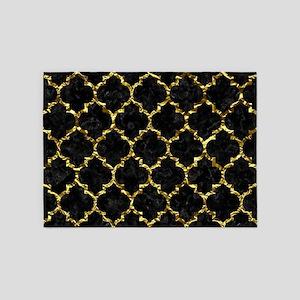 TILE1 BLACK MARBLE & GOLD FOIL 5'x7'Area Rug