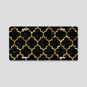 TILE1 BLACK MARBLE & GOLD F Aluminum License Plate