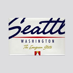 Seattle Script Rectangle Magnet